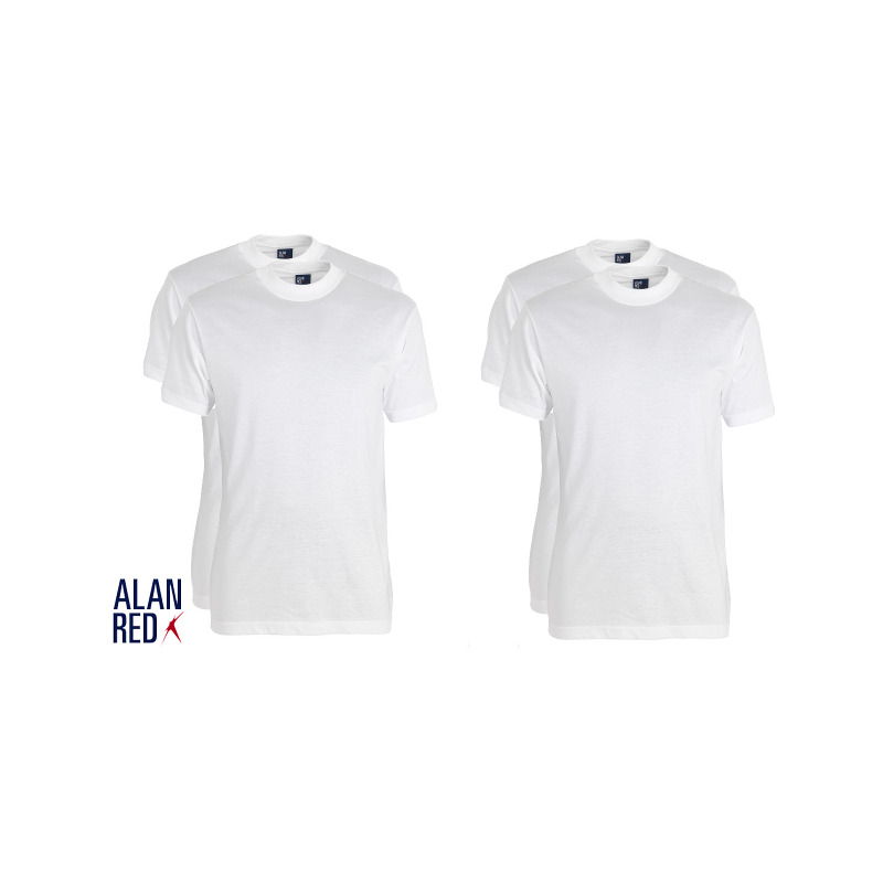 Alan Red 4-Pack T-shirts Virginia, Crew Neck, Wit Special Deal!!, Small